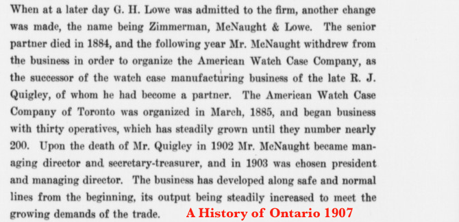 R. J. Quigley Death 1902 A History of Ontario 1907.png